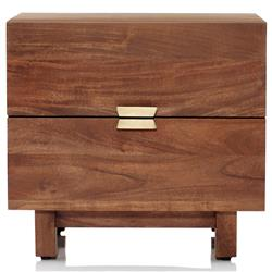 Audrey Rustic Lodge Natural Acacia 2 Drawer Nightstand