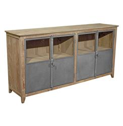 Chaucer Industrial Loft Limed Wood and Metal Sideboard Storage Cabinet