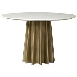 """Aurora Hollywood Regency White Marble Antique Brass Round Dining Table - 47""""W"""