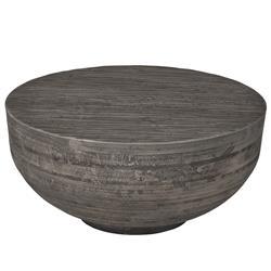Brenna Modern Classic Weathered Grey Hardwood Round Round Coffee Table