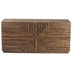 Masie Global Bazaar Dark Hardwood Geometric 4 Drawer Low Dresser
