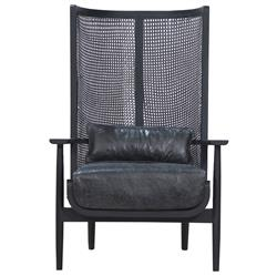 Naomi Coastal Beach Black Leather Cushion Charcoal Mango Wood Cane Wing Chair