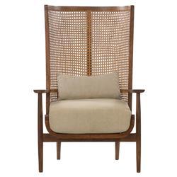 Naomi Coastal Beach White Cushion Brown Mango Wood Cane Wing Chair