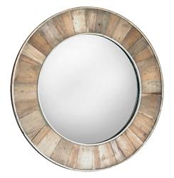 Tavern Rustic Lodge Reclaimed Pine Natural Wax Framed Round Mirror - 35.5D