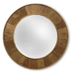 Boardwalk Rustic Lodge Natural Finish Reclaimed Pine Round Mirror - 28.5D