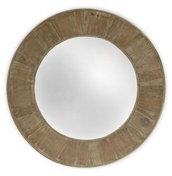 Boardwalk Rustic Lodge Old Lime Finish Reclaimed Pine Round Mirror - 28.5D