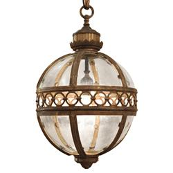 Jordan Global Bazaar Round Antique Brass Pendant 1 Light Lantern - 16.5 Inch