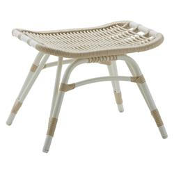 Lai Coastal Beach White Woven Aluminum Frame Outdoor Foot Stool