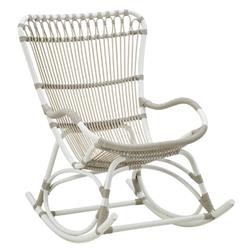 Nathan Coastal Beach White Woven Aluminum Frame Outdoor Rocking Chair