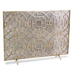 Pyra Modern Transitional Gold Leaf Medallion Fireplace Screen | 425008