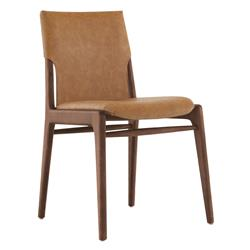 Cooper Tress Modern Classic Brown Leather Walnut Wood Dining Chair