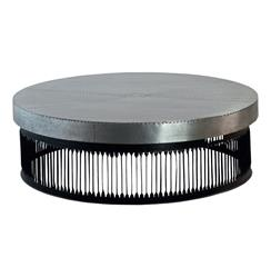 Jalk Industrial Style Masculine Studded Metal Round Coffee Table - S | AM-CT0063