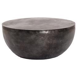 Joshua Modern Classic Black Aluminum Round Outdoor Coffee Table