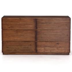 Scarlett Modern Classic Brown Acacia Wood 6 Drawer Dresser