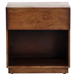 Scarlett Modern Classic Brown Acacia Wood Nightstand