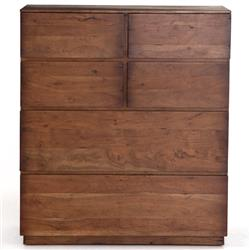 Scarlett Modern Classic Brown Acacia Wood 6 Drawer Tallboy Chest
