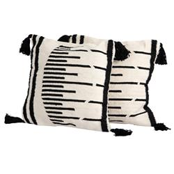 Nathan Modern Classic Beige Black Outdoor Pillow - Set of 2