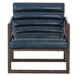 Camila Modern Classic Blue Leather Brown Wood Occasional Arm Chair