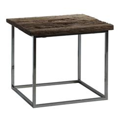 Wiese Rustic Lodge Weathered Old Wood Square Side Table | AM-ST0123
