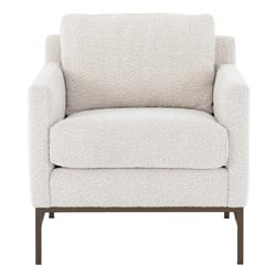 Lilian Modern Classic Ivory Upholstered Iron Arm Chair
