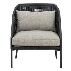 Owen Modern Classic Grey Cushion Black Rattan Arm Chair