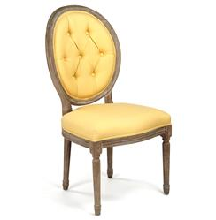 Pair Madeleine Oval Tufted Yellow Linen Limed Oak Dining Side Chair