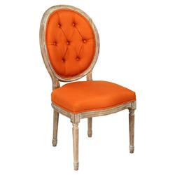 Madeleine Oval Tufted Orange Linen Limed Oak Dining Side Chair