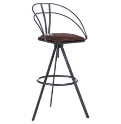 Blackthorne Industrial Loft Adjustable Height Leather Bar Stool
