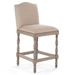 Debussy French Country Reclaimed Oak Linen Counter Stool