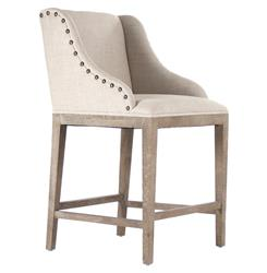 Corneille French Country Limed Oak Linen Counter Stool | ZEN-ZEN102-CounterStool