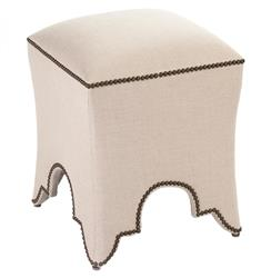 Duvall Hollywood Regency Natural Linen Nail Head Ottoman Stool