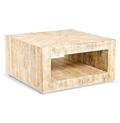 Kismet Coastal Beach Square Chunky Mango Driftwood Coffee Table