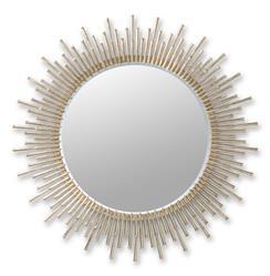 Aruba Sunburst Antique Brass Hollywood Regency Round Wall Mirror