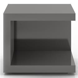 Modloft Ludlow Modern Classic Glossy Dark Gull Grey Wood Square Nightstand