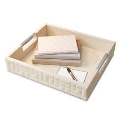 Lansbury Quilted Ivory Hollywood Regency Leather Tray | GV-9.91228