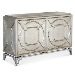 Keaton Hollywood Regency Silver Storage 2 Door Cabinet