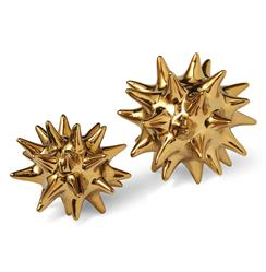 Cousteau Coastal Beach Bright Gold Sea Urchin Sculptures - Set of 2