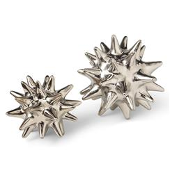 Cousteau Coastal Beach Bright Silver Sea Urchin Sculptures - Set of 2