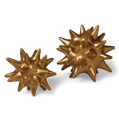 Cousteau Coastal Beach Antique Gold Sea Urchin Sculptures - Set of 2