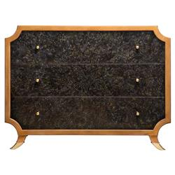 Radiant Burst Hollywood Regency Black Horn Inlay Brown Dresser