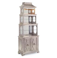 Aveline Hollywood Regency Antique Silver Leaf Mirrored Display Cabinet