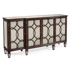 John-Richard Bayard Hollywood Regency Espresso Silver Leaf Mirrored Lattice Sideboard