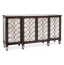 John-Richard Cordelia Hollywood Regency Silver Leaf Mirrored Rosewood Sideboard