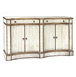 John-Richard Imogen Hollywood Regency Silver Leaf Mirrored Gold Concave Sideboard