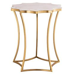 Kira Hollywood Regency White Marble Top Gold Iron Base Side Table