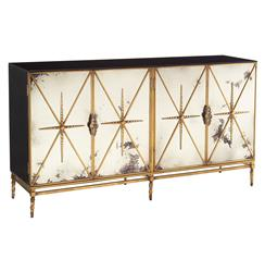 John-Richard Adalyn Hollywood Regency Antique Mirror Gold Black 4 Door Sideboard