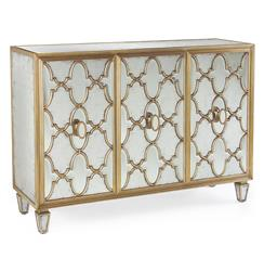 Babette Hollywood Regency Silver Leaf Mirrored Gold Lattice Sideboard | JR-EUR-04-0175