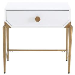 Shey Modern Classic White Wood Side Table