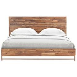 Sofia Rustic Lodge Brown Acacia Wood Brass Bed - Queen | Kathy Kuo Home
