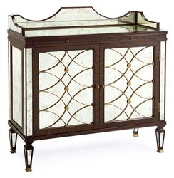 John-Richard Cordelia Hollywood Regency Silver Leaf Mirrored Rosewood Bar Sideboard